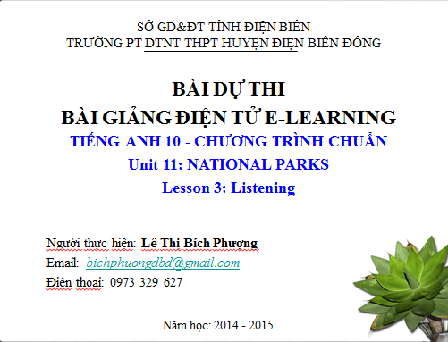 Lớp 10-Unit 11-National parks