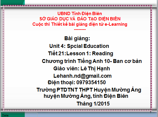 Lớp 10-Tiết 21-Unit 4: Spcial Education