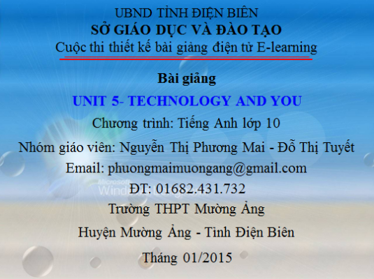 Lớp 10-Unit 5-Technology anh you