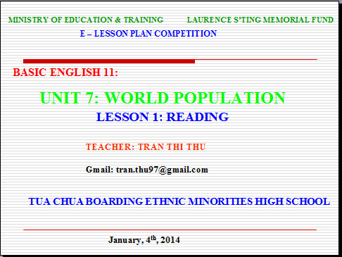 tieng anh 11 unit 7 world population writing a book