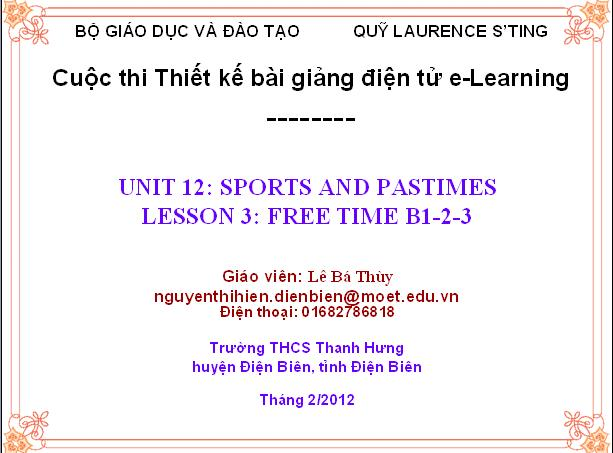Tiếng anh lớp 6: LESSON 3: FREE TIME B1-2-3