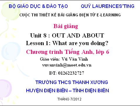 Tiếng Anh lớp 6: Lesson 1: What are you doing?